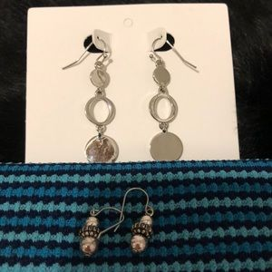 Two pairs of silver earrings